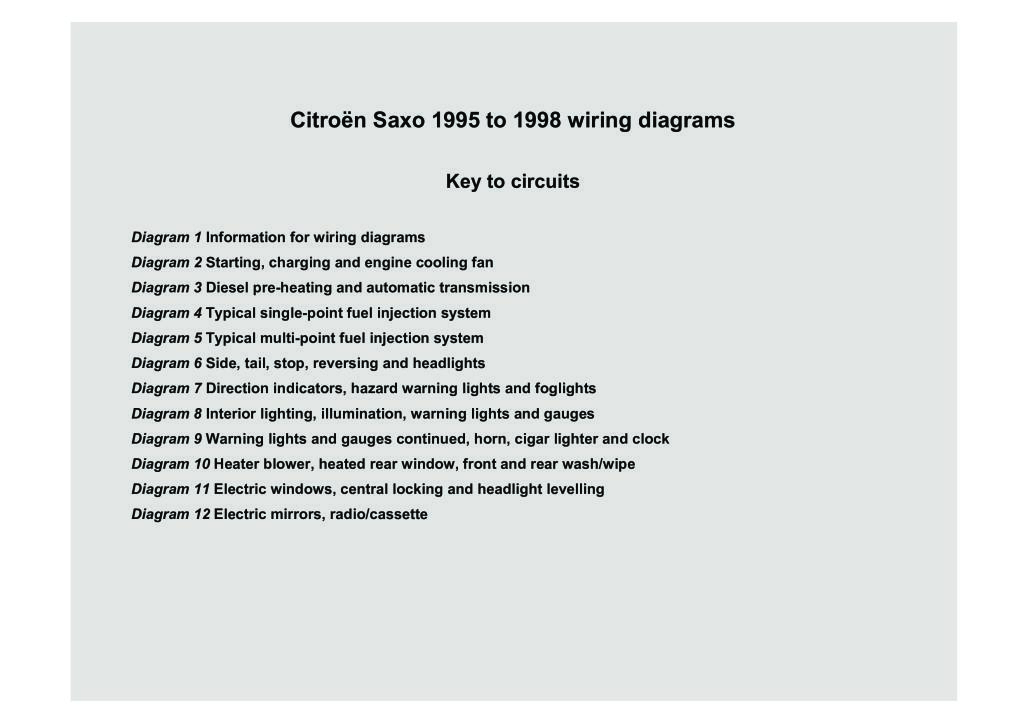 Citroen Saxo 1995 To 1998 Wiring Diagrams Pdf  1 09 Mb